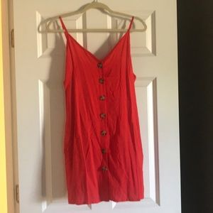 Bright red button down sundress- never worn!